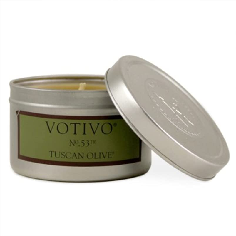 平手打ちフォークためにVOTIVO AROMATIC TRAVEL TIN CANDLE TUSCAN OLIVE