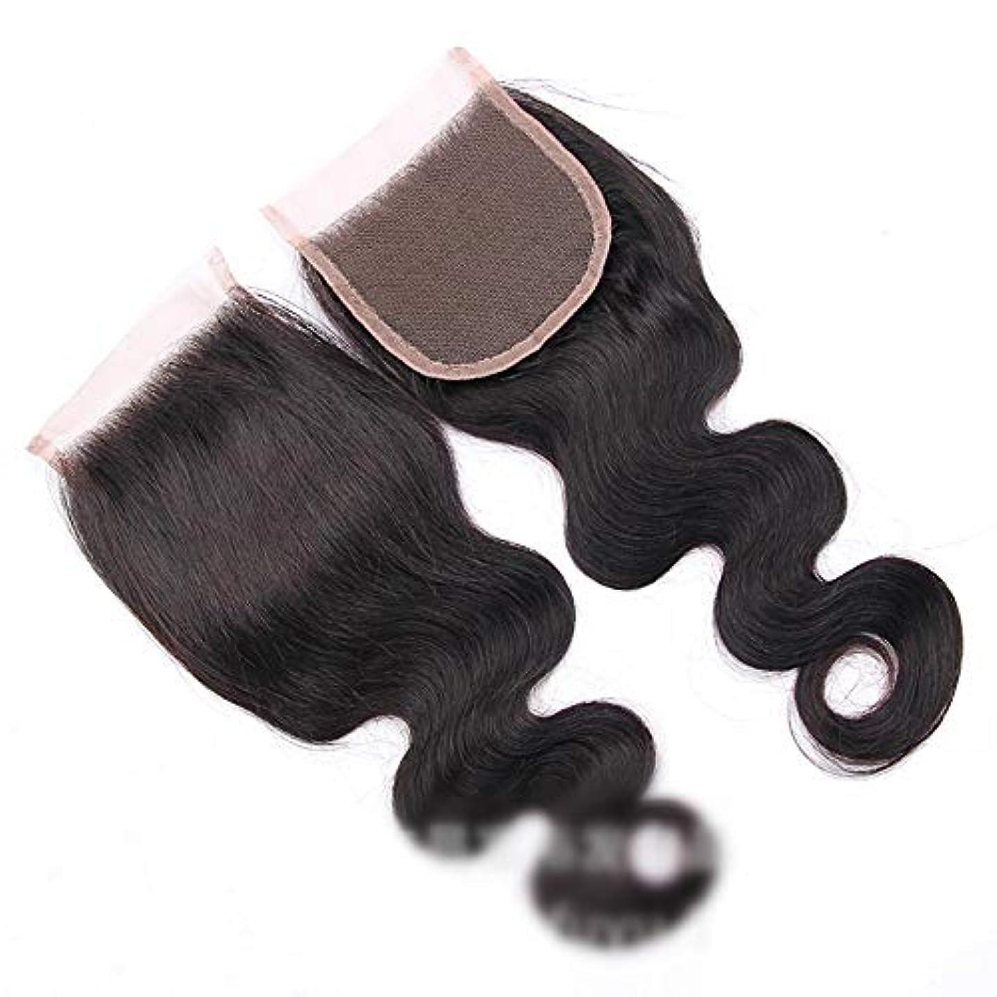 にやにやぞっとするようなプラットフォームHOHYLLYA ブラジル実体波レース閉鎖無料パート100%バージン人間の髪の毛の閉鎖ナチュラルカラービッグウェーブウィッグ (色 : 黒, サイズ : 8 inch)