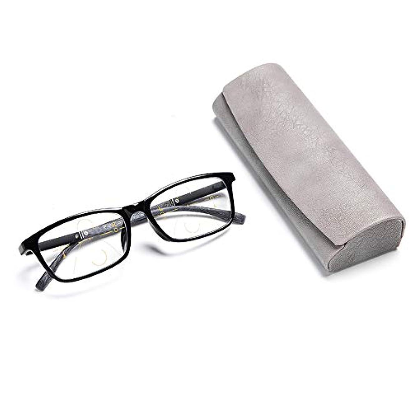 マットレスくちばしケントプログレッシブ多焦点老眼鏡、スマートズームブラック老眼鏡、スタイリッシュな超軽量光学ガラス、男性と女性のポータブルメガネ2.50