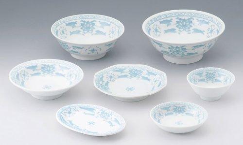 カネ定製陶 中華青蘭 八角シューマイ皿