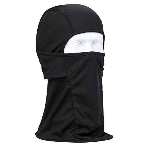 KISSTYLE フェイスマスク UVカット目出し帽 メッシュ 吸汗速乾 バイク サバゲー タクティカル(ブラック)