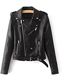 Showlovein シープスキン風 ライダースジャケット合成皮革 レディース 大きいサイズも 革ジャン オートバイジャケット バイクジャケット