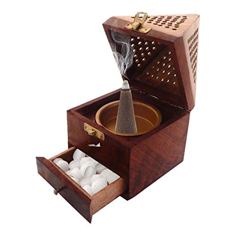 Xmas Present、木製クラシックピラミッドスタイルBurnerベース正方形&トップ円錐形状、木製香炉ボックス、チャコールIncense Holder、Dhoopホルダー、ブラウンカラーサイズ7.5 X 4インチ