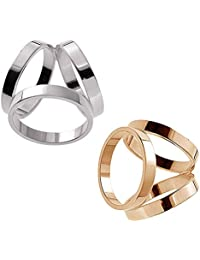2-Pack: Yellow Gold Tone + Silver Tone Metal Minimalist Contemporary 3-Ring Scarf Ring Clip