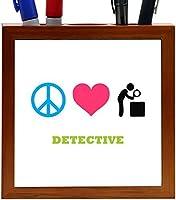 Rikki Knight Peace Love Detective Design 5-Inch Tile Wooden Tile Pen Holder (RK-PH41525) [並行輸入品]