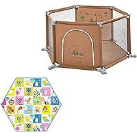 ベビーサークル ポータブルプレイヤードベビープレイペンター子供用家庭6パネルゲームフェンス屋内キッズ安全活動センターと六角クッション