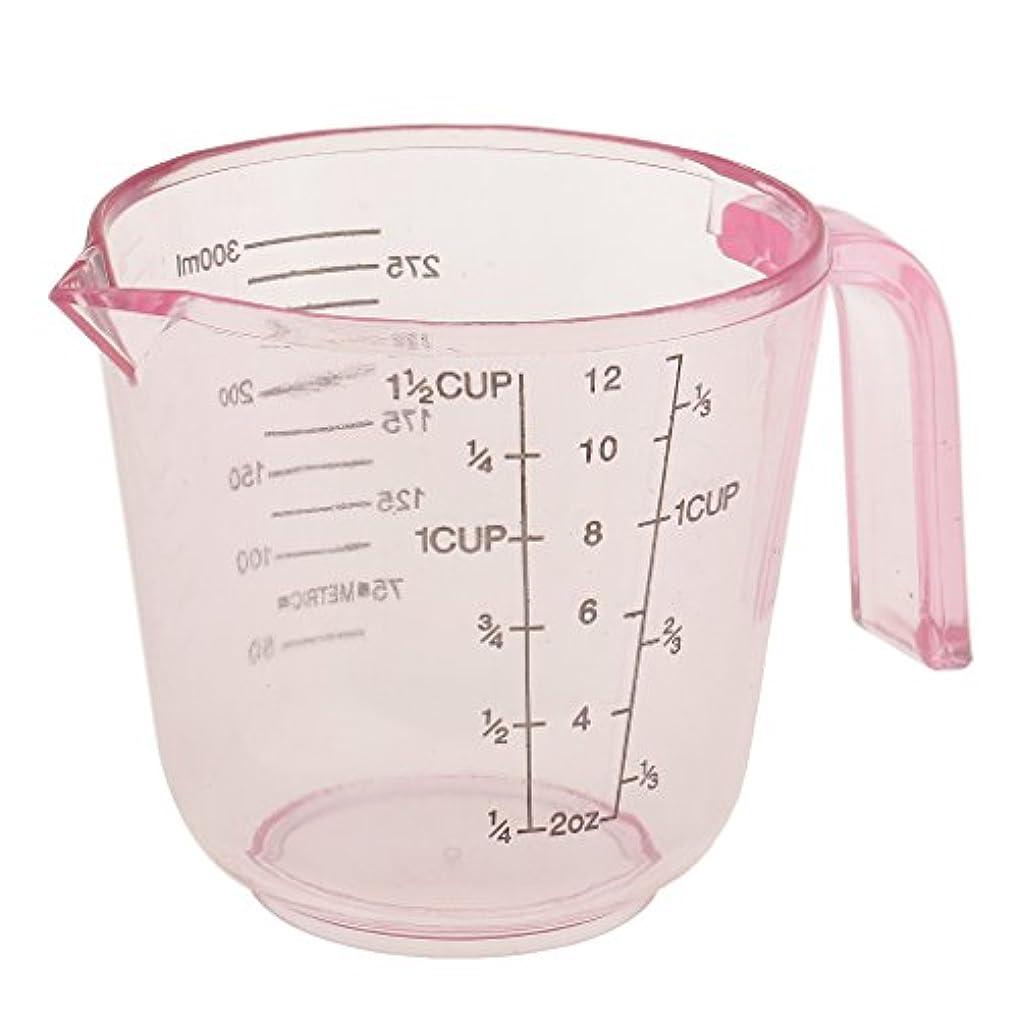 横向きアラームめんどりPerfk 計量カップ 多機能 プラスチック製 サロン ヘアカラー 髪染め 測定用 全3色選べ - ピンク