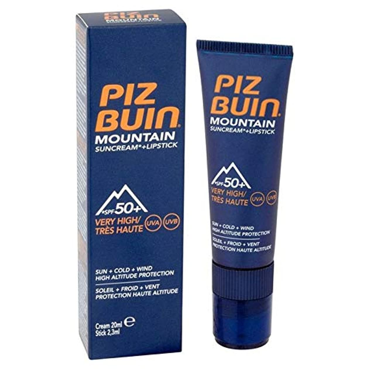 行進男性ヒープ[Piz Buin] ピッツブーイン山脈口紅&サンクリームSpf50 + 20ミリリットル - Piz Buin Mountain Range Lipstick & Suncream SPF50+ 20ml [並行輸入品]