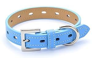 犬首輪 犬の首輪 ベーシック4色 本革 かわいい おしゃれ 中型犬 小型犬 ブルー Mサイズ
