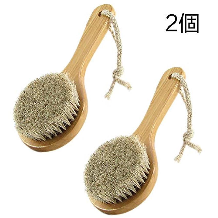 色合いアジア仲介者2個 馬毛ボディブラシ 木製 短柄 足を洗う お風呂用 体洗い 女性 角質除去 柔らかい 美肌 (馬毛ボディブラシ)