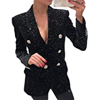 Macondoo Womens Sequins Suit Coat Notch Lapel Double Breasted Blazer Jacket