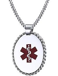 医療用アラートIDペンダント ネックレス 無料の彫刻入り ステンレススチール 24インチ