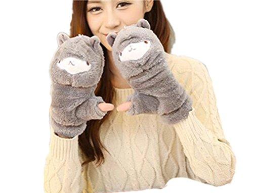 (リアルスタイル)Real Style レディース 手袋 ふわふわ もこもこ 防寒 冬 可愛い ヤギの手型 スマホ に便利 肉球 ツメ 付き 動物 あったか アニマル手袋