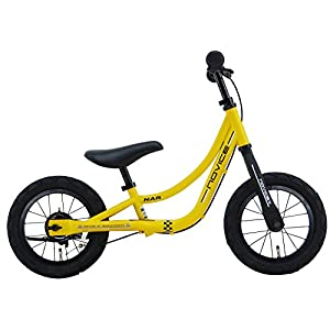 SAKAI CYCLE(サカイサイクル) NOVICE 12インチ ブレーキ・スタンド付き エアタイヤ仕様 キックバイク バランスバイク NOVICE12G-FO ツヤケシイエロー