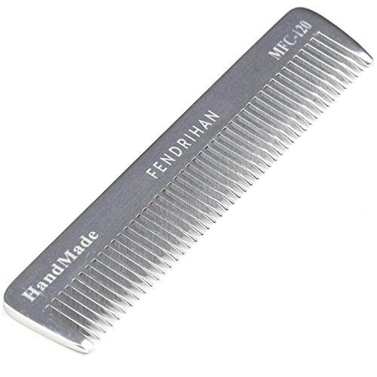 インポート材料かなりFendrihan Sturdy Metal Fine Tooth Barber Pocket Grooming Comb (4.6 Inches) [並行輸入品]