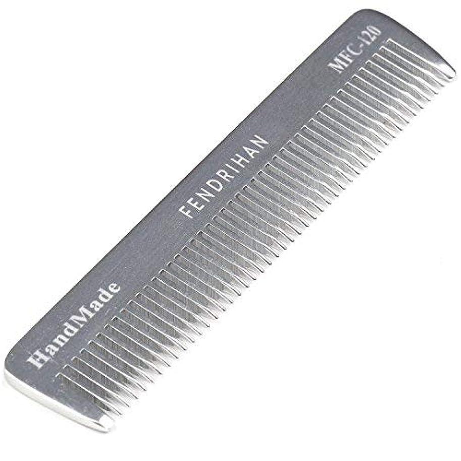明るいケーブルカー彫るFendrihan Sturdy Metal Fine Tooth Barber Pocket Grooming Comb (4.6 Inches) [並行輸入品]