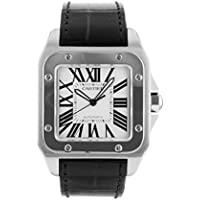 [カルティエ] 腕時計 CARTIER W20073X8 サントス100 LM SS/レザー ホワイト文字盤 メンズ 自動巻き [中古品] [並行輸入品]