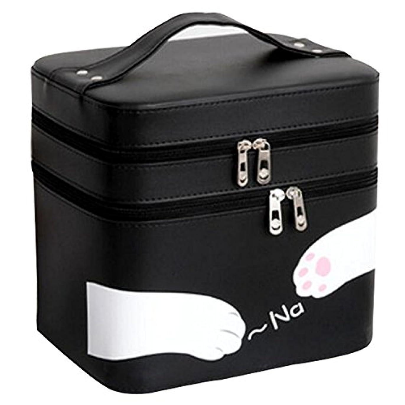 メタリック契約しただますFYX 化粧品収納 収納ケース コスメボックス メイク用品収納 小物入れ 大容量 取っ手付 ミラー付き 携帯に便利  カワイイネコ 3段タイプ (ブラック)