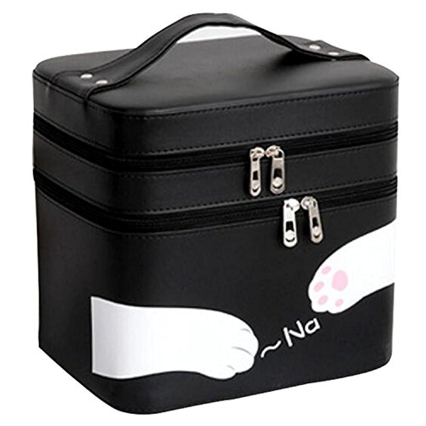 標高カーフのためFYX 化粧品収納 収納ケース コスメボックス メイク用品収納 小物入れ 大容量 取っ手付 ミラー付き 携帯に便利  カワイイネコ 3段タイプ (ブラック)