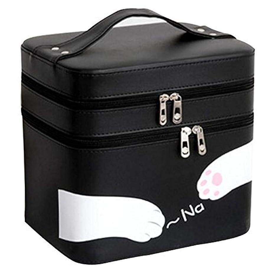 ぜいたく誇張する周辺FYX 化粧品収納 収納ケース コスメボックス メイク用品収納 小物入れ 大容量 取っ手付 ミラー付き 携帯に便利  カワイイネコ 3段タイプ (ブラック)