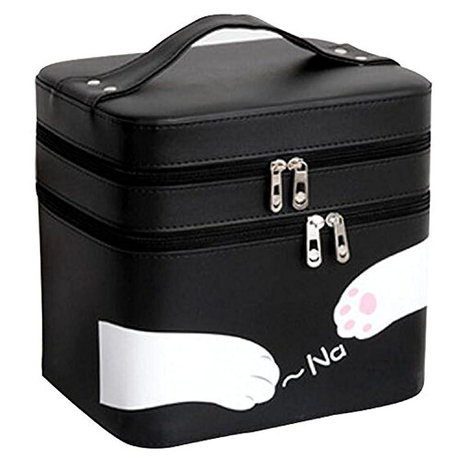取り消すはげローストFYX 化粧品収納 収納ケース コスメボックス メイク用品収納 小物入れ 大容量 取っ手付 ミラー付き 携帯に便利  カワイイネコ 3段タイプ (ブラック)