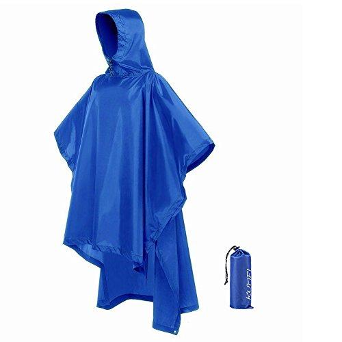 KUMFI ポンチョ レインコート メンズ 防水 3-IN-1レインポンチョ 多機能 自転車 バイク 男女兼用 軽量 雨具 収納袋付(ブルー)