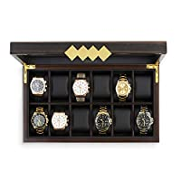 Glenor Co Large 12 Slot Wooden Watch Box for Men - Modern Luxury Case with Gold Buckle & Legs - Glass Display Storage - Mens Organizer - Black Leather Pillow Holder - Brown Walnut Wood