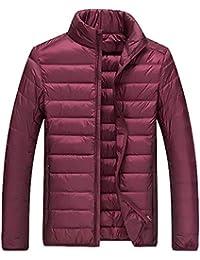 YVWTUCメンズ?ボーイズ用超軽量ダウンパッファジャケット薄型スリムパテントウィンターコート