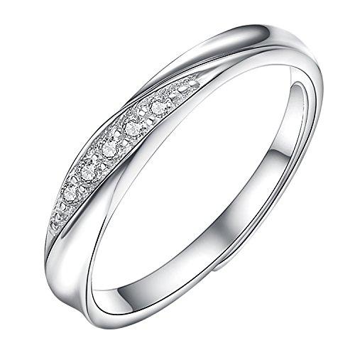 Yoursfsペアリング カップル リング 婚約指輪 オープン シルバー925 純銀製指輪 フリーサイズ (レディース)