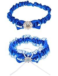 Prettyia 2個 ガーター 結婚式 花嫁 記念品 青い サテン レース ラインストーン パーティー