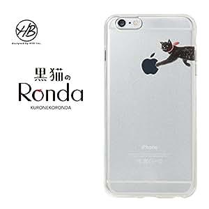 &y HB 【iPhone6s Plus / iPhone6 Plus 両対応】 5.5インチ ソフトTPUケース キャラクター ネコ IMD光沢印刷 黒猫のRonda(ロンダ) B クリア