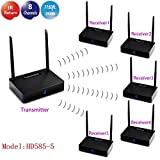 MEASY HD585 -5 (1x5) ワイヤレスHDMIエクステンダー/アダプター/ドングルデュアルアンテナIRを使用して同じチャンネルの1つの送信機から5つの受信機へのオーディオビデオ送信をサポート
