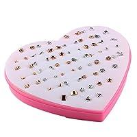Prettyia 36組 お買い得 可愛い ピンクハートボックス付き スタッドピアス  人気 贈り物