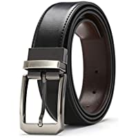 """Genuine Leather Reversible Belt for Men With Single Sponge 1.3"""" Rotated Buckle,7 Holes in Gift Box"""
