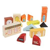 F Fityle 子供 幼児用 木のおもちゃ 鉄道列車 電車セット 建物おもちゃ 模型 6色選択 - ハウス
