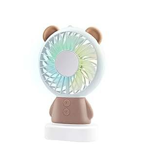 WAYONE USB扇風機 手持ち扇風機 充電式 ミニ 小型 携帯 卓上置き両用扇風機 風量2段階調節 多色LEDライト付きミニファン ハンディ ファン7枚羽根 携帯便利 動物 可愛い 軽量 熱中症対策 (くま, ブラウン)
