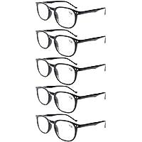 Eyekepper 5-Pack Spring Hinges 80's Classic Reading Glasses Black +0.50
