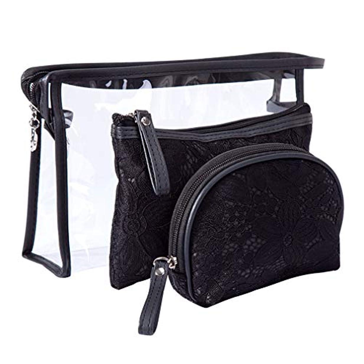 ズボンマラソン鳴らすAllforlife 化粧ポーチ 洗面具ポーチ トラベルポーチ 多機能な収納バッグ 実用3点セット 持ち運び用 大容量 かわいい(ブラック)
