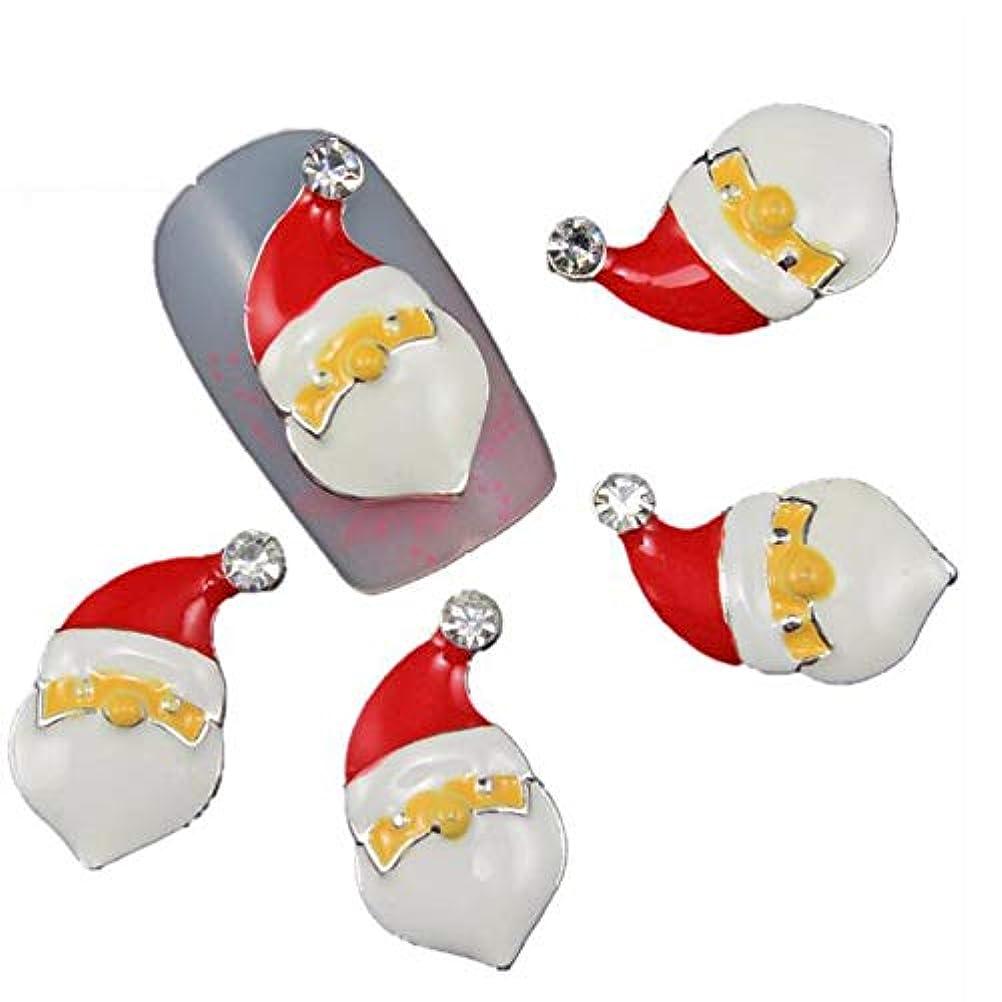 印象的な吸収剤に対処するチャームの釘のために10個/ロット3Dクリスマスネイルアートクラシックサンタクロースデザインマニキュアの装飾のクリスタルラインストーン