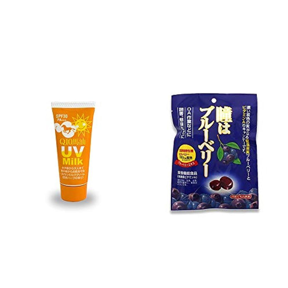 [2点セット] 炭黒泉 Q10馬油 UVサンミルク[天然ハーブ](40g)?瞳はブルーベリー 健康機能食品[ビタミンA](100g)
