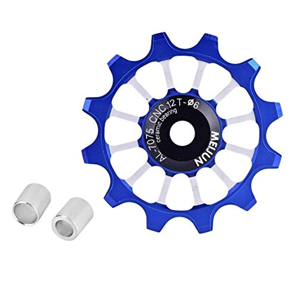 強打不屈気分が悪い自転車ガイドホイール、12Tジョッキーホイールリアディレイラープーリーアルミ合金セラミックジョッキープーリーホイール、7/8/9/10スピードバイク4色用