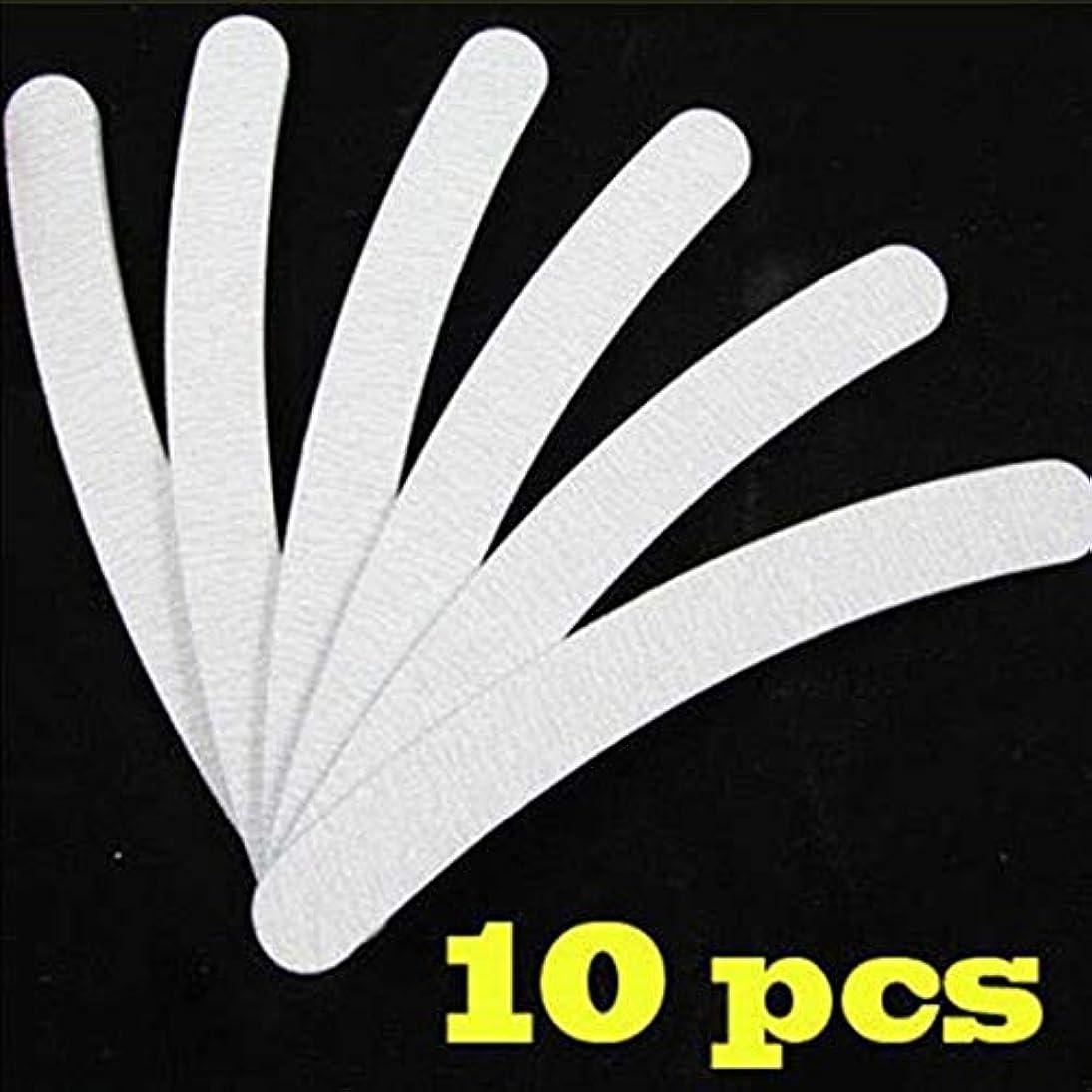 生瞑想する鮫AAcreatspace 10個/セットベンド両面ネイルファイルネイルアート100/180グリットサンディングポリッシャーマニキュアグリットネイルファイルツール