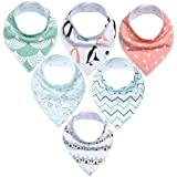 Baby feeding supplies 6pcs Babies Slobber Bibs Printing Bibs Adjustable Babies Bandana Drool Bibs Kids Triangle Towel for Boys Girls Teething Drooling Babies Bib Suitable for infants and toddlers