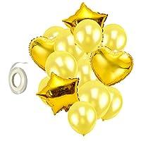 Homyl バルーンセット 風船 リボン スター 星型 ハート 子供 玩具 プレゼント 全2色  - ゴールド