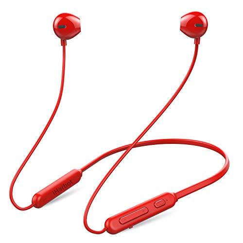 進化版 IPX5完全防水 iHarbort Bluetooth イヤホン 低音重視 8.5時間連続再生 Hi-Fi 高音質 マグネット搭載 スポーツ用ワイヤレスイヤホン マイク内蔵 ハンズフリー通話 CVC6.0 ノイズキャンセリング搭載 ブルートゥース イヤホンiPhone、iPod、Android用 レッド