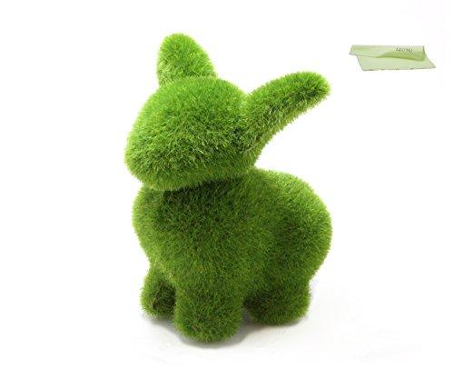 苔風 うさぎ 置物 IZUMIオリジナルお手入れ用ウエス セット (緑)