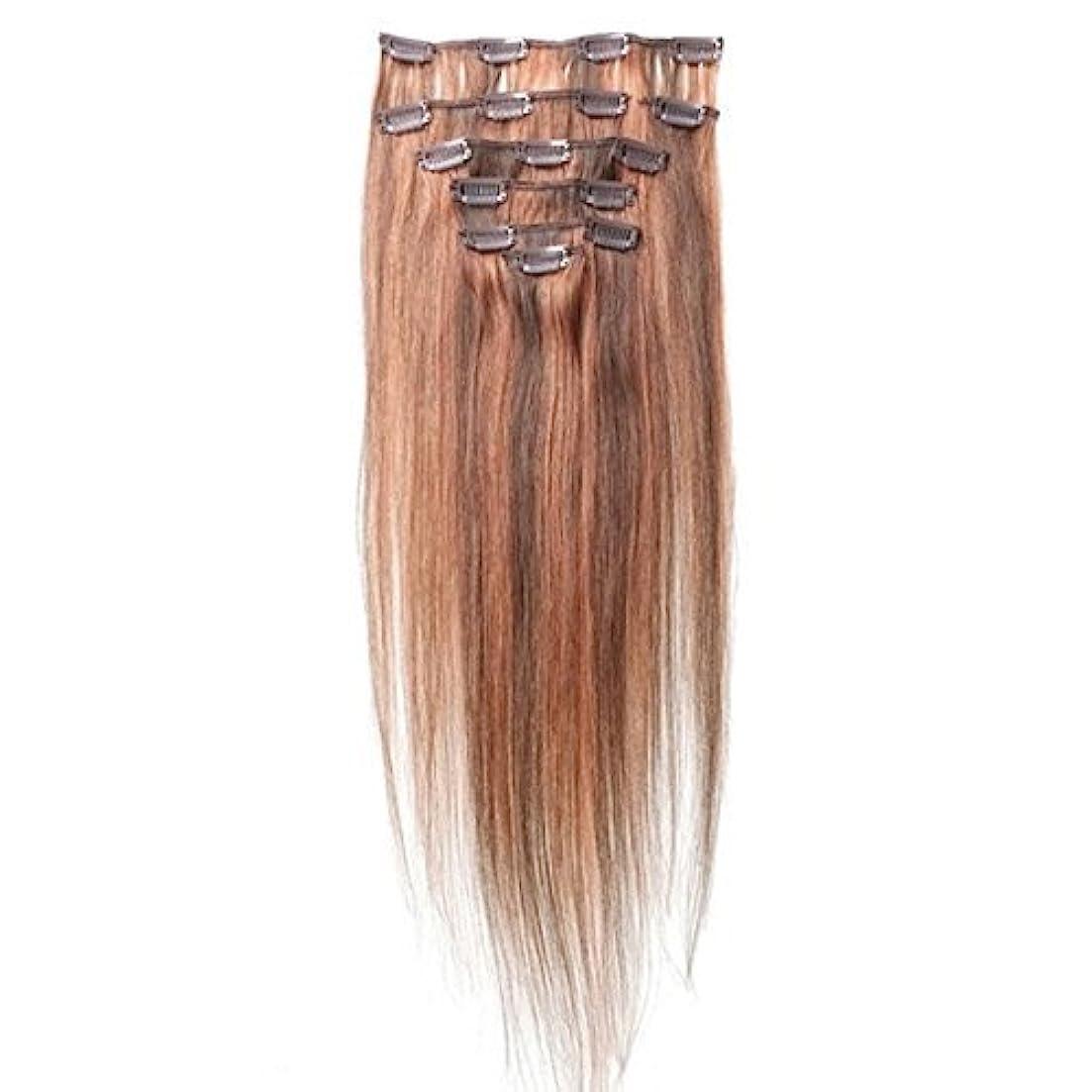酸素果てしない引き出すヘアエクステンション,SODIAL(R) 女性の人間の髪 クリップインヘアエクステンション 7件 70g 20インチ キャメルブラウン+レッド