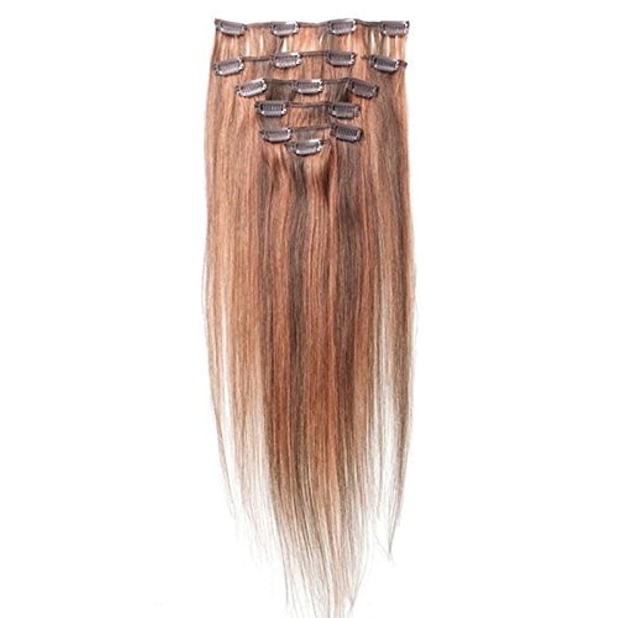 土砂降り気晴らし責任ヘアエクステンション,SODIAL(R) 女性の人間の髪 クリップインヘアエクステンション 7件 70g 20インチ キャメルブラウン+レッド