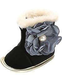 C-Princess ベビー 靴 ムートンブーツ スノーブーツ ファーストシューズ 雪靴 裏ボア 暖かい 子供 キッズ 女の子 ガールズ 小花付き 可愛い 秋冬 黒+灰花 12cm