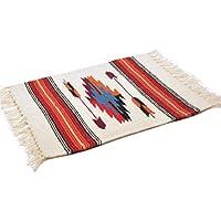 (エルパソサドルブランケット) El Paso SADDLEBLANKET Wool Chimayo Style/ウールラグ素材プレースマット[約51×38cm][NATURAL/RED]